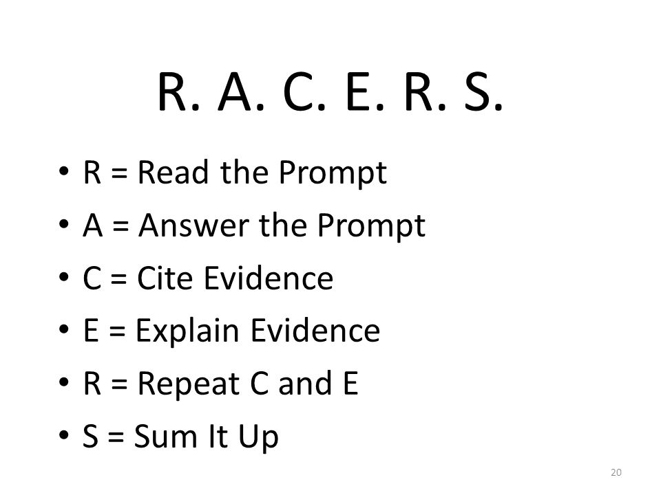 R. A. C. E. R. S.