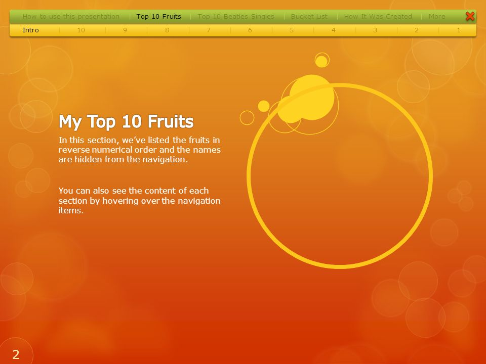 Release Date:6th March 1970 Label:Apple Records Highest Position:2 Weeks in Chart:9 22 Intro10987654321 |||||||||| How to use this presentationTop 10 FruitsTop 10 Beatles SinglesBucket ListHow It Was CreatedMore |||||