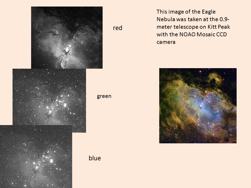 This image of the Eagle Nebula was taken at the 0.9- meter telescope on Kitt Peak with the NOAO Mosaic CCD camera red green blue