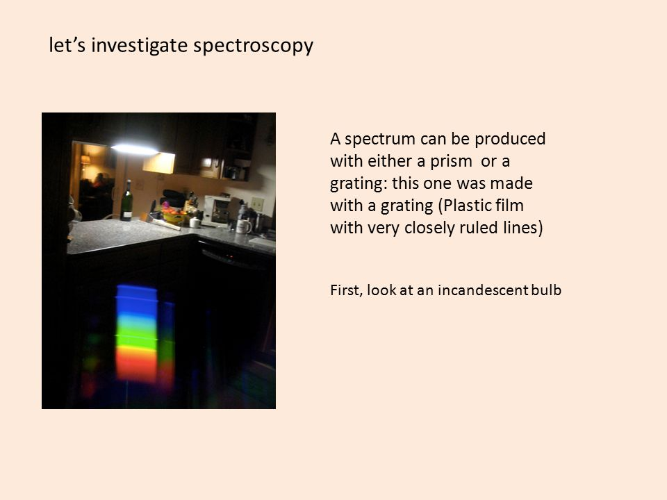 let's investigate spectroscopy A spectrum can be produced with either a prism or a grating: this one was made with a grating (Plastic film with very closely ruled lines) First, look at an incandescent bulb