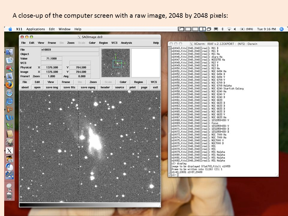 A close-up of the computer screen with a raw image, 2048 by 2048 pixels: