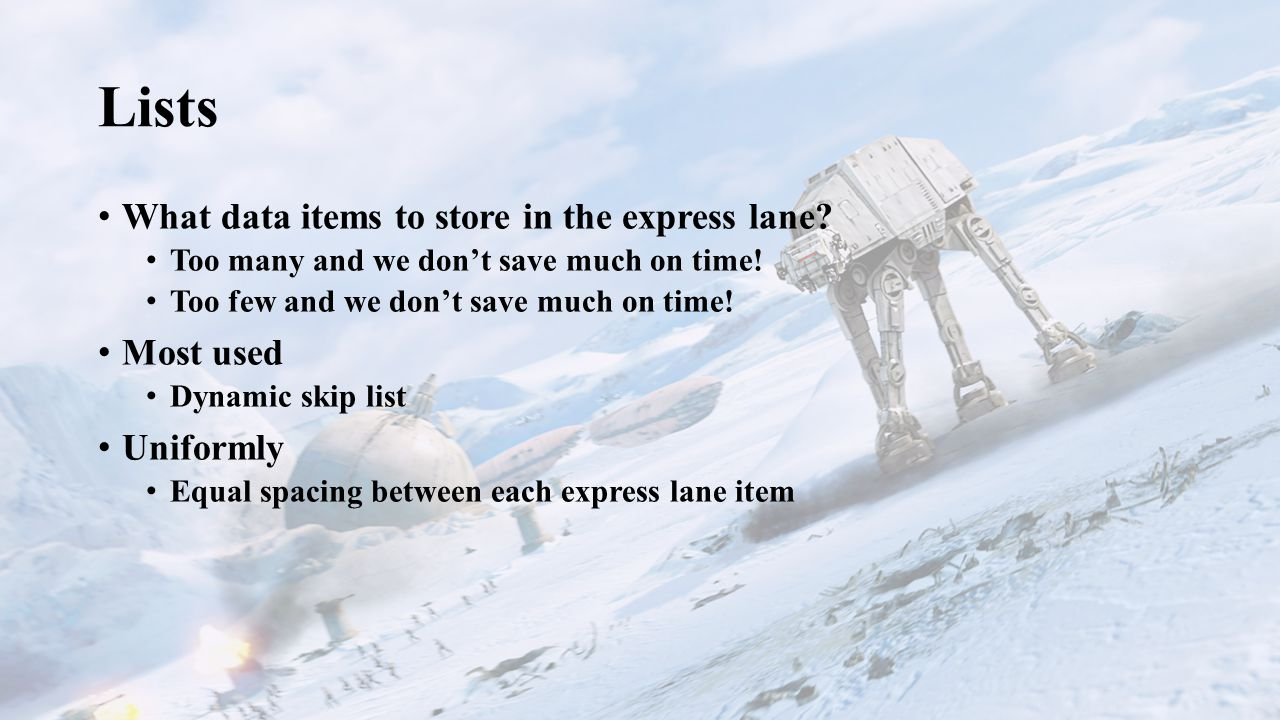 Lists What data items to store in the express lane.