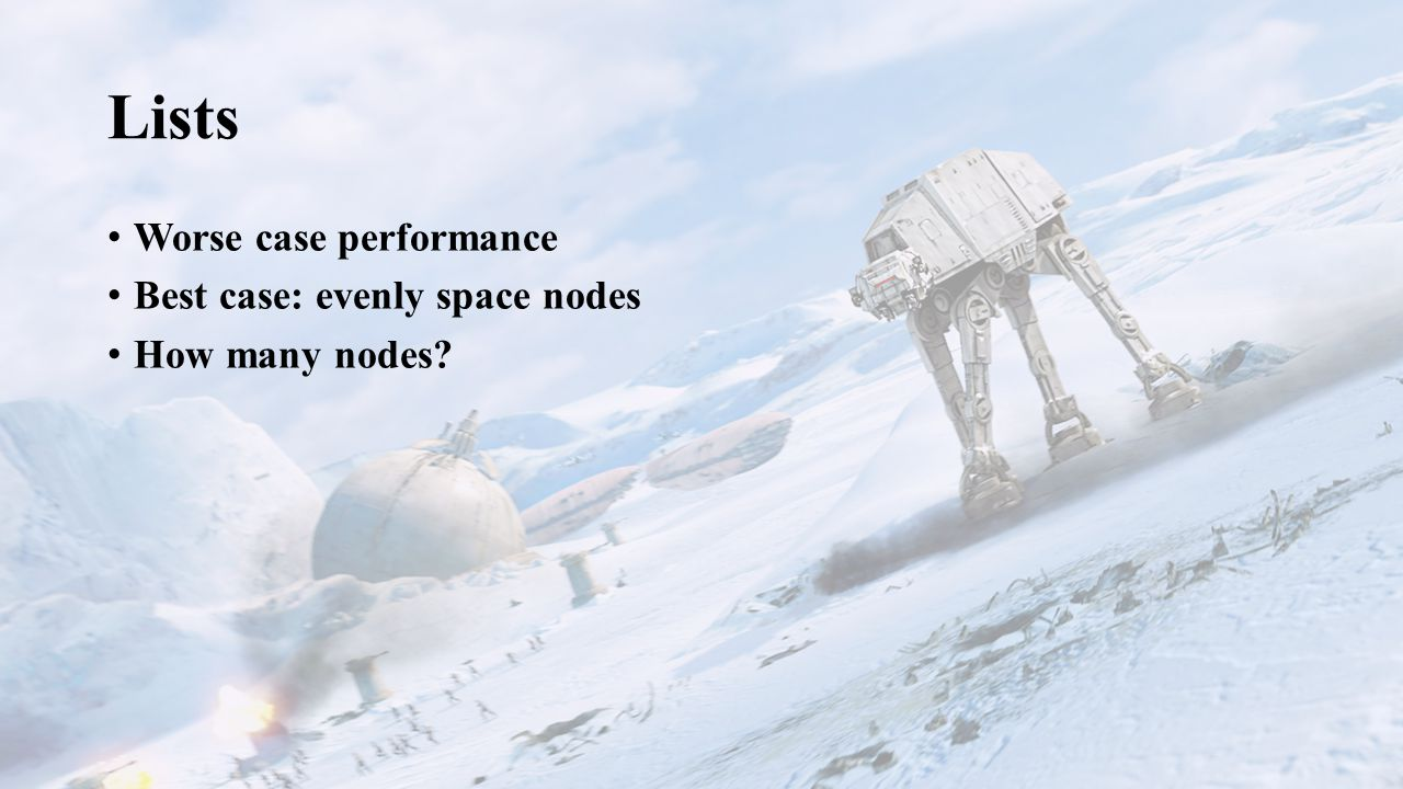 Lists Worse case performance Best case: evenly space nodes How many nodes