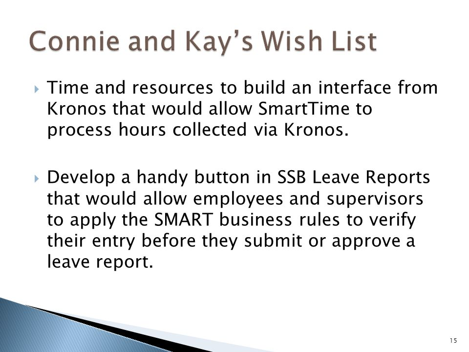  Time and resources to build an interface from Kronos that would allow SmartTime to process hours collected via Kronos.