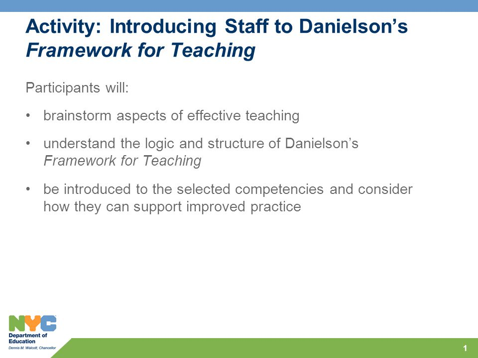 Activity: Introducing Staff to Danielson's Framework for Teaching Participants will: brainstorm aspects of effective teaching understand the logic and