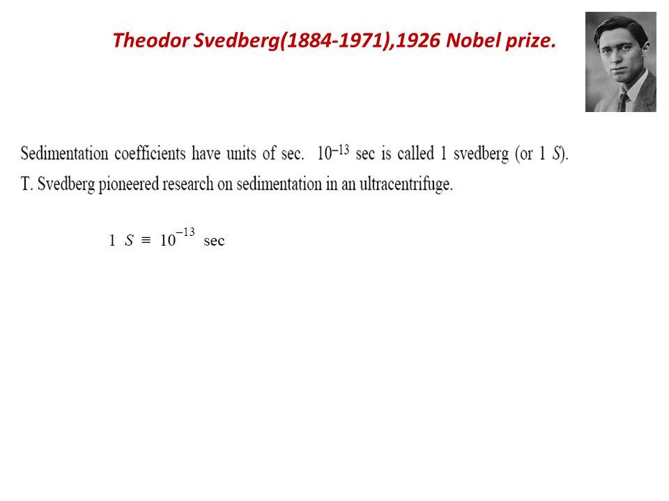 Theodor Svedberg(1884-1971),1926 Nobel prize.