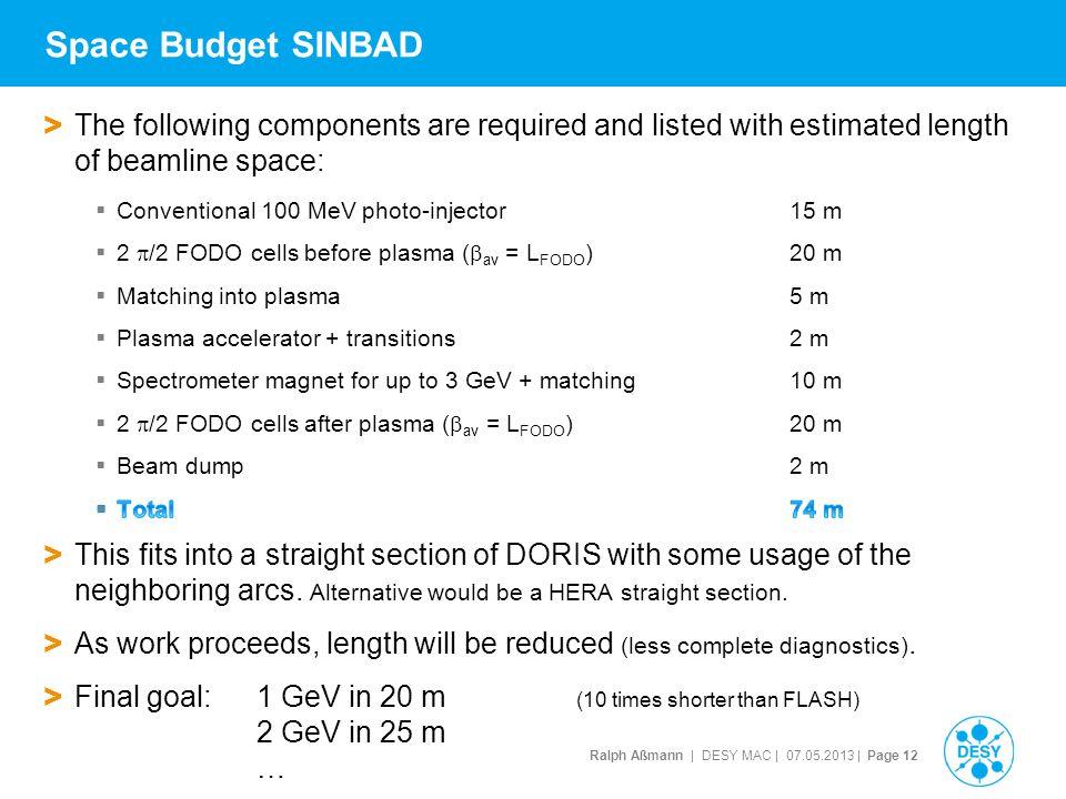 Ralph Aßmann | DESY MAC | 07.05.2013 | Page 12 Space Budget SINBAD
