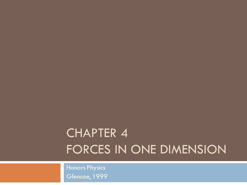 CHAPTER 4 FORCES IN ONE DIMENSION Honors Physics Glencoe, 1999