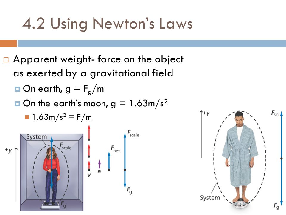 4.2 Using Newton's Laws  Apparent weight- force on the object as exerted by a gravitational field  On earth, g = F g /m  On the earth's moon, g = 1