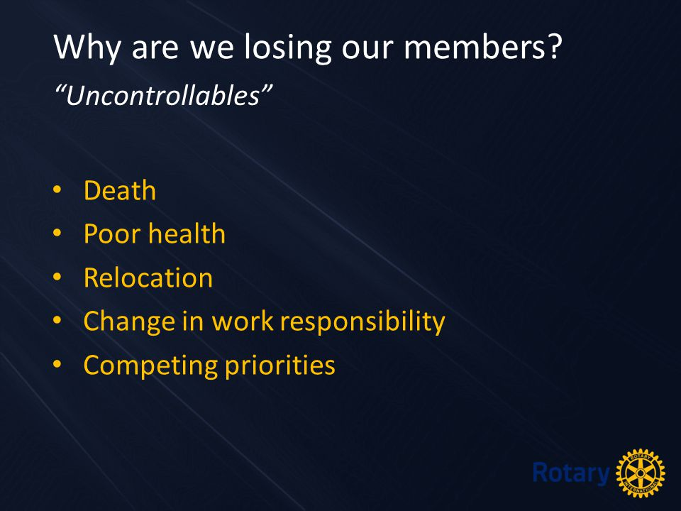 """Death Poor health Relocation Change in work responsibility Competing priorities Why are we losing our members? """"Uncontrollables"""""""