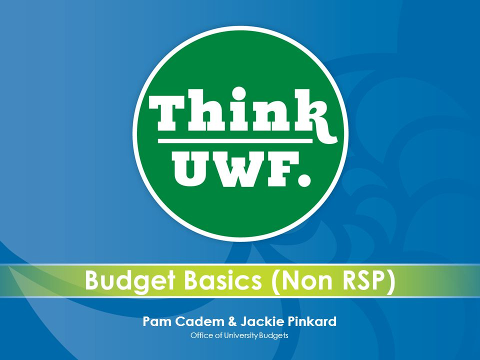 Budget Basics (Non RSP) Pam Cadem & Jackie Pinkard Office of University Budgets