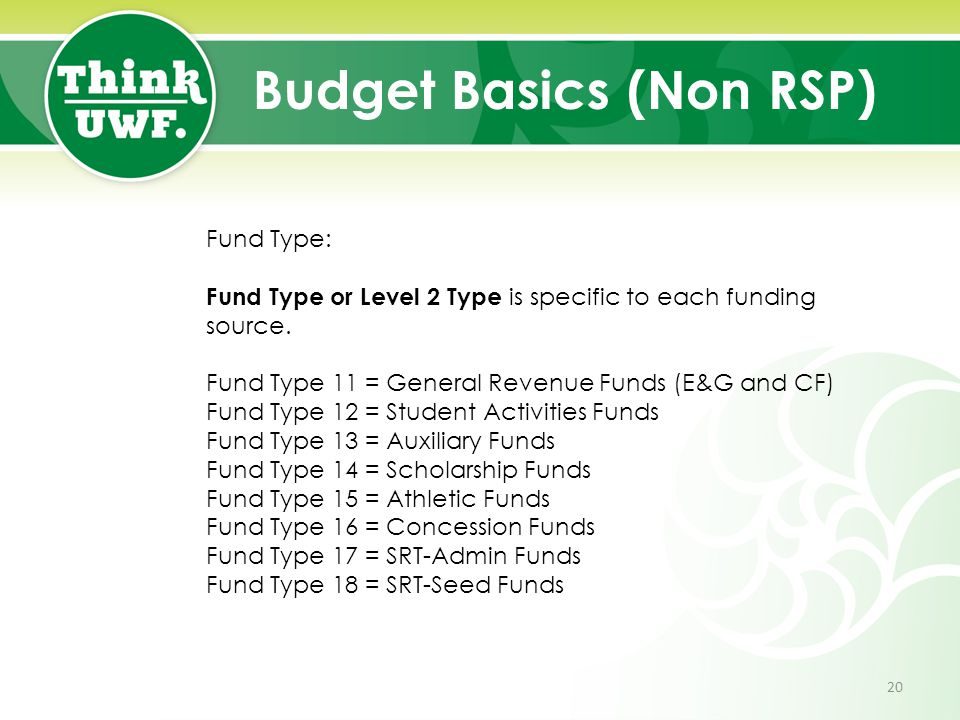 Budget Basics (Non RSP) Fund Type: Fund Type or Level 2 Type is specific to each funding source.