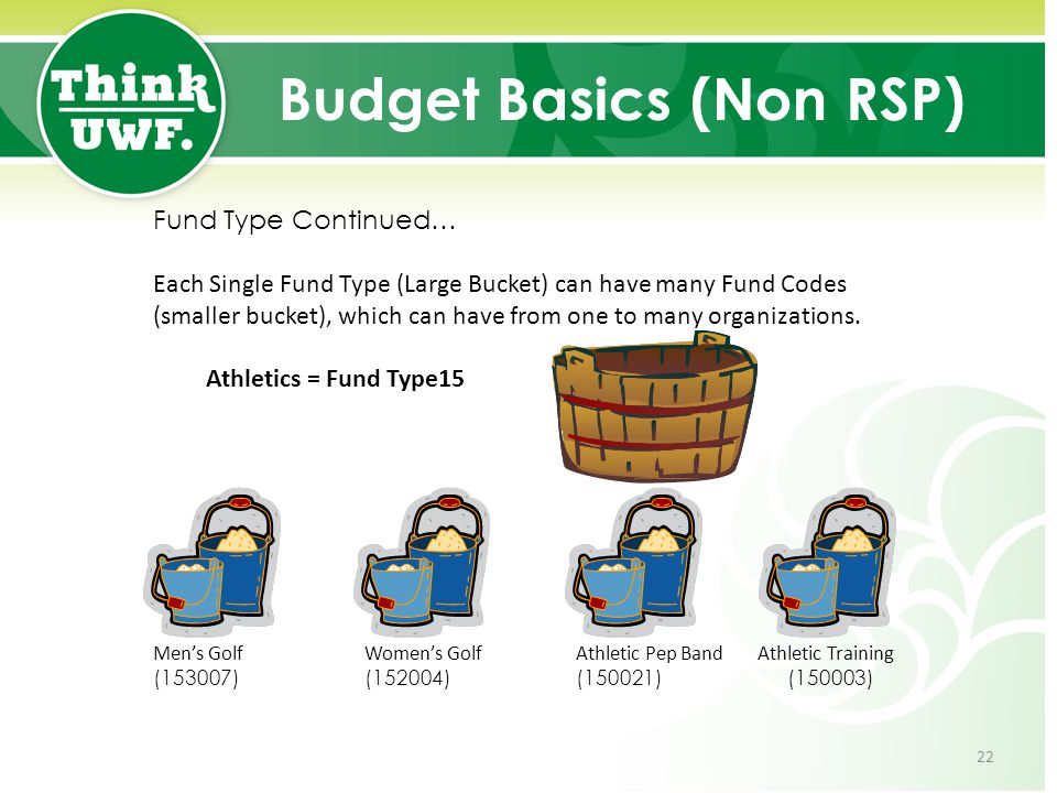 Budget Basics (Non RSP) Fund Type Continued… Each Single Fund Type (Large Bucket) can have many Fund Codes (smaller bucket), which can have from one t