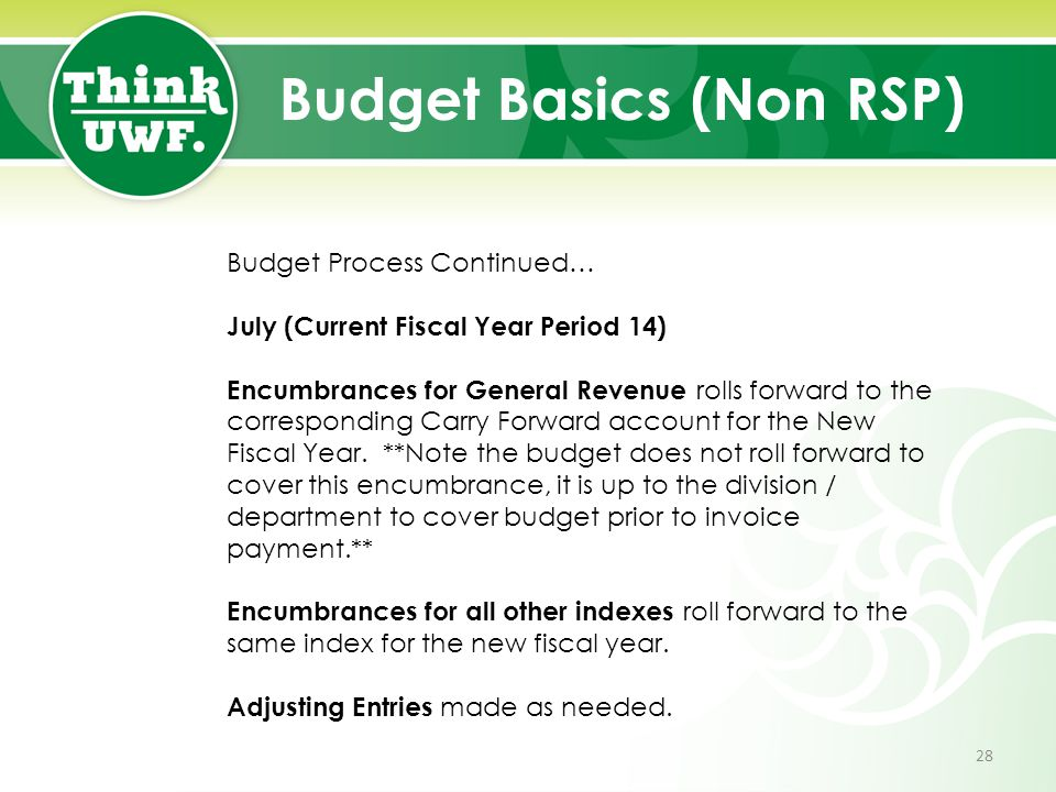 Budget Basics (Non RSP) Budget Process Continued… July (Current Fiscal Year Period 14) Encumbrances for General Revenue rolls forward to the correspon