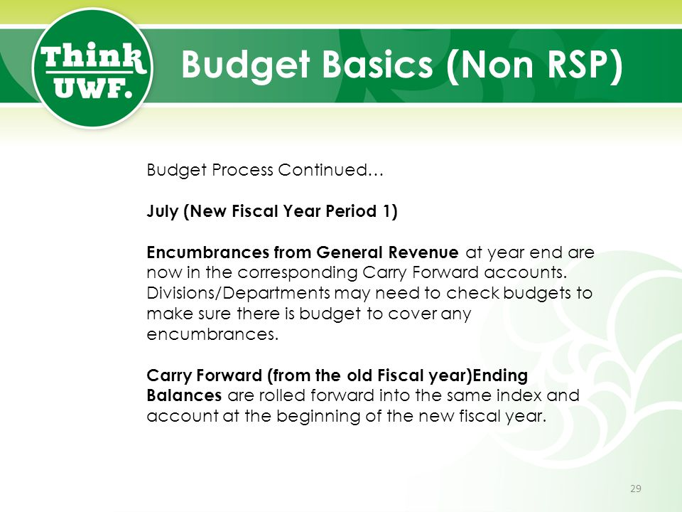 Budget Basics (Non RSP) Budget Process Continued… July (New Fiscal Year Period 1) Encumbrances from General Revenue at year end are now in the corresp