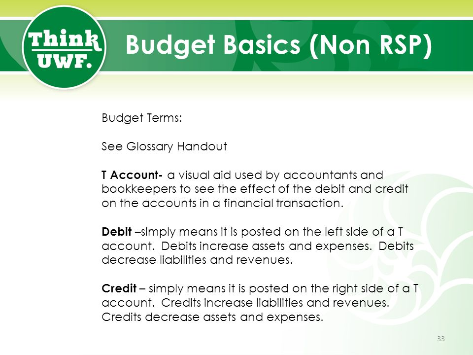 Budget Basics (Non RSP) Budget Terms: See Glossary Handout T Account- a visual aid used by accountants and bookkeepers to see the effect of the debit
