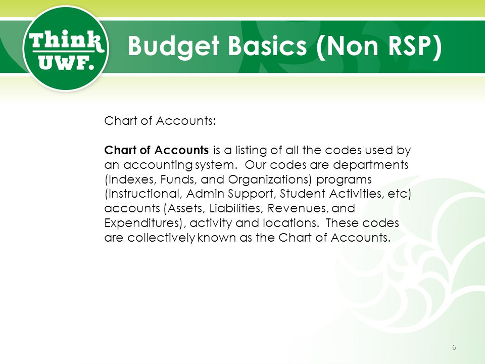 Budget Basics (Non RSP) Chart of Accounts: Chart of Accounts is a listing of all the codes used by an accounting system. Our codes are departments (In