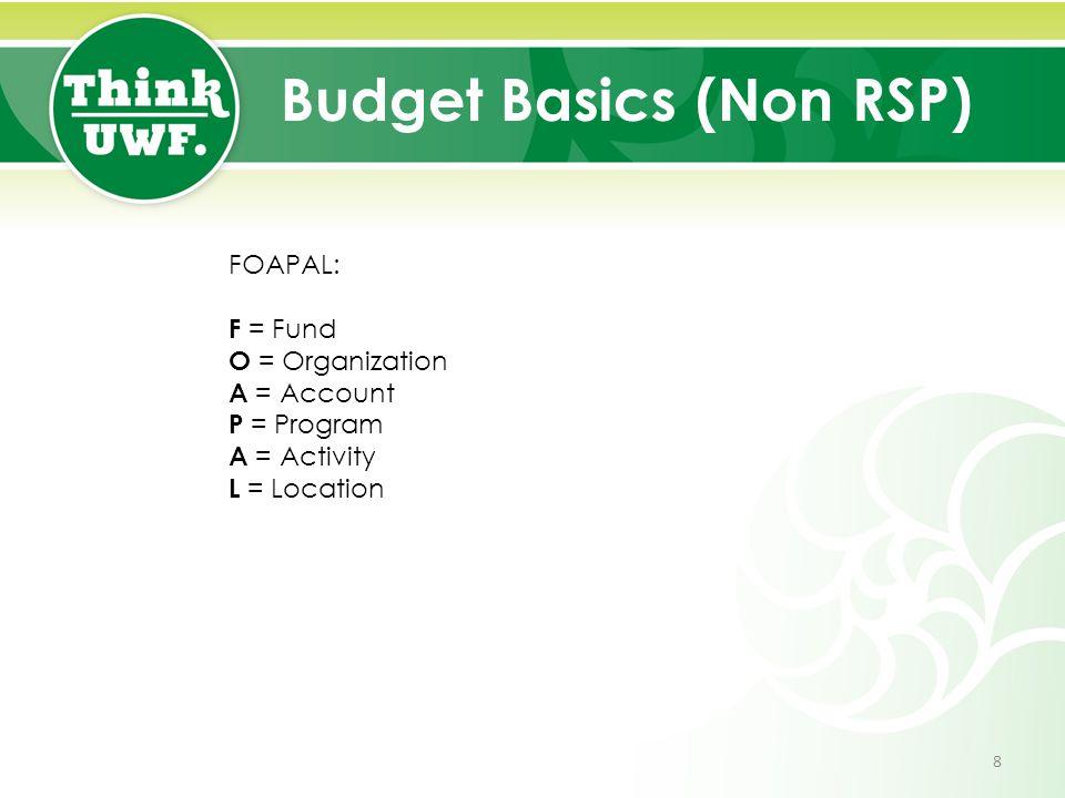 Budget Basics (Non RSP) FOAPAL: F = Fund O = Organization A = Account P = Program A = Activity L = Location 8