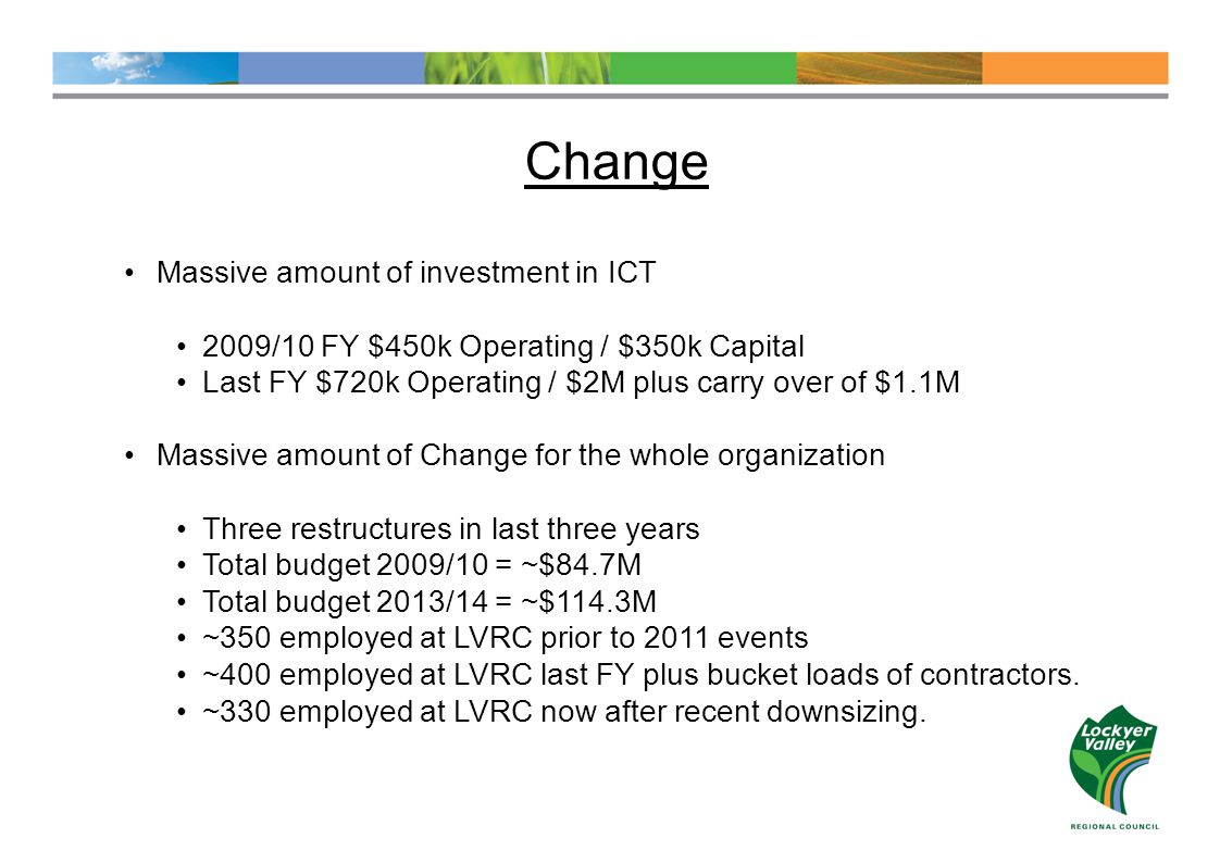 Change Massive amount of investment in ICT 2009/10 FY $450k Operating / $350k Capital Last FY $720k Operating / $2M plus carry over of $1.1M Massive amount of Change for the whole organization Three restructures in last three years Total budget 2009/10 = ~$84.7M Total budget 2013/14 = ~$114.3M ~350 employed at LVRC prior to 2011 events ~400 employed at LVRC last FY plus bucket loads of contractors.