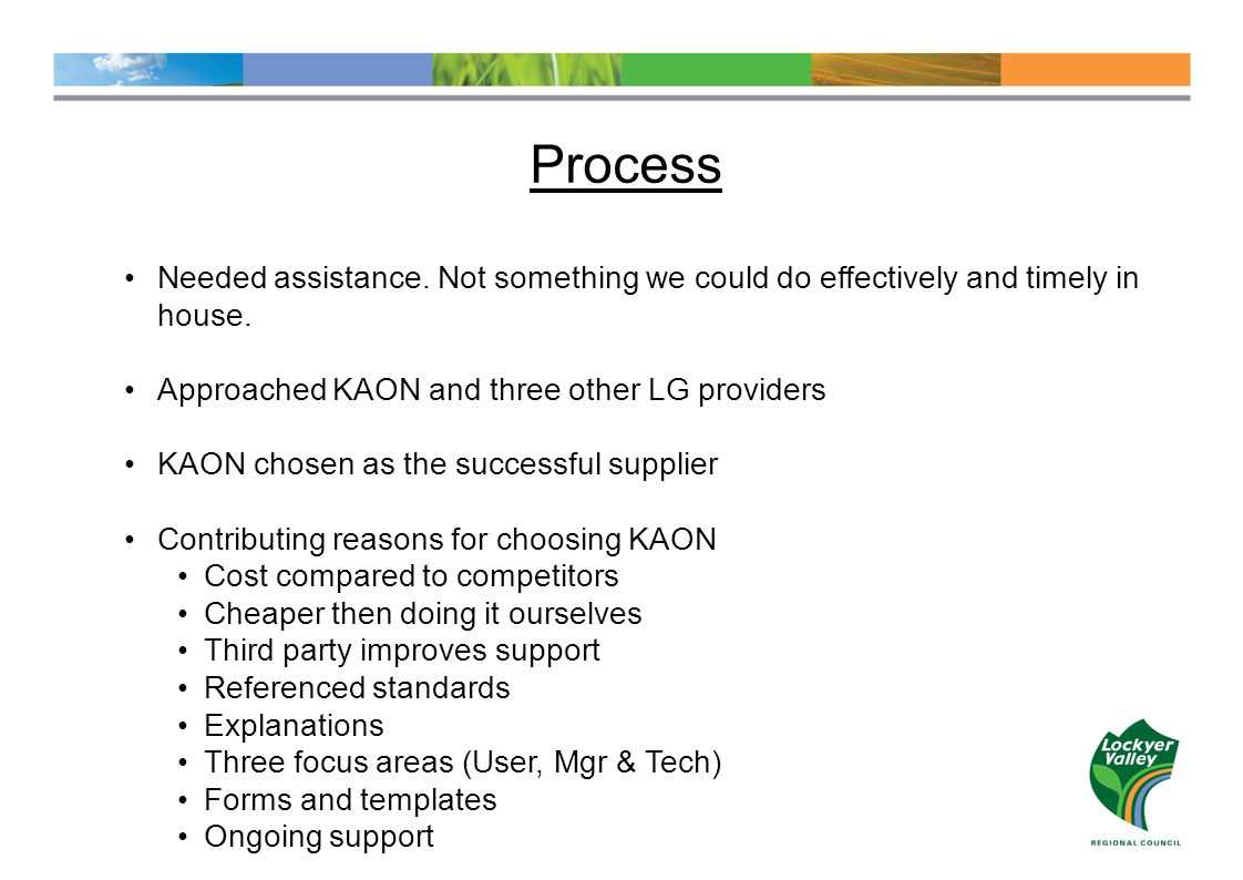 Process Needed assistance. Not something we could do effectively and timely in house.