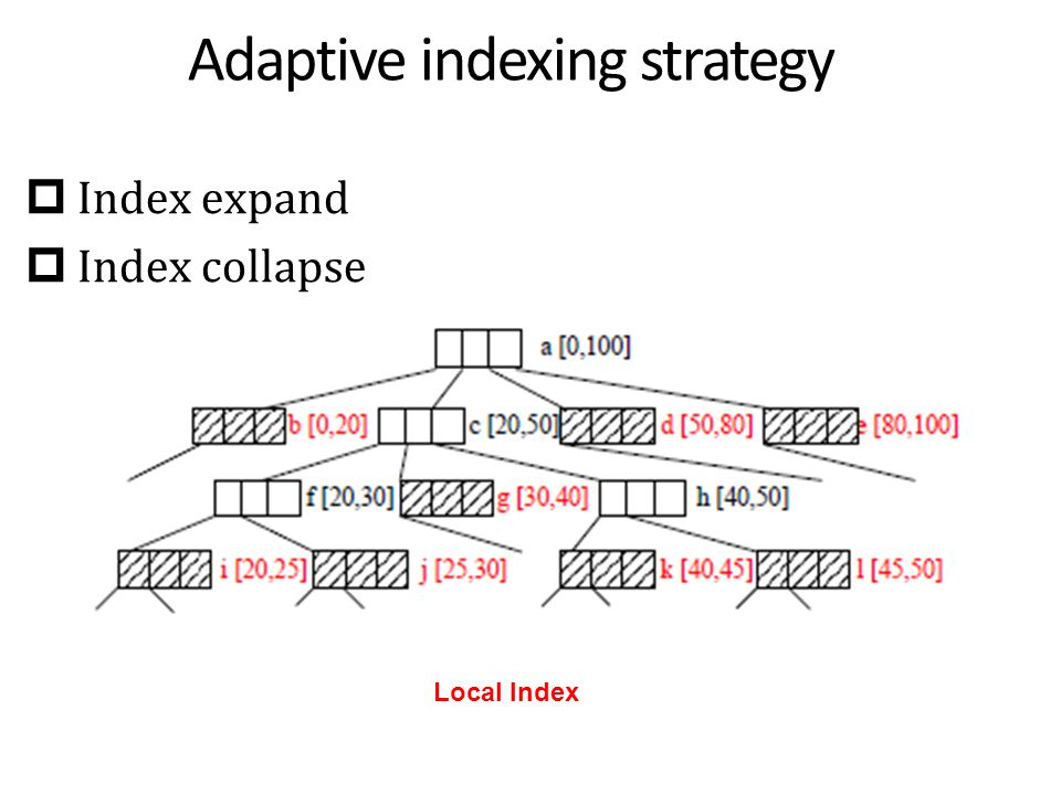 Adaptive indexing strategy  Index expand  Index collapse Local Index