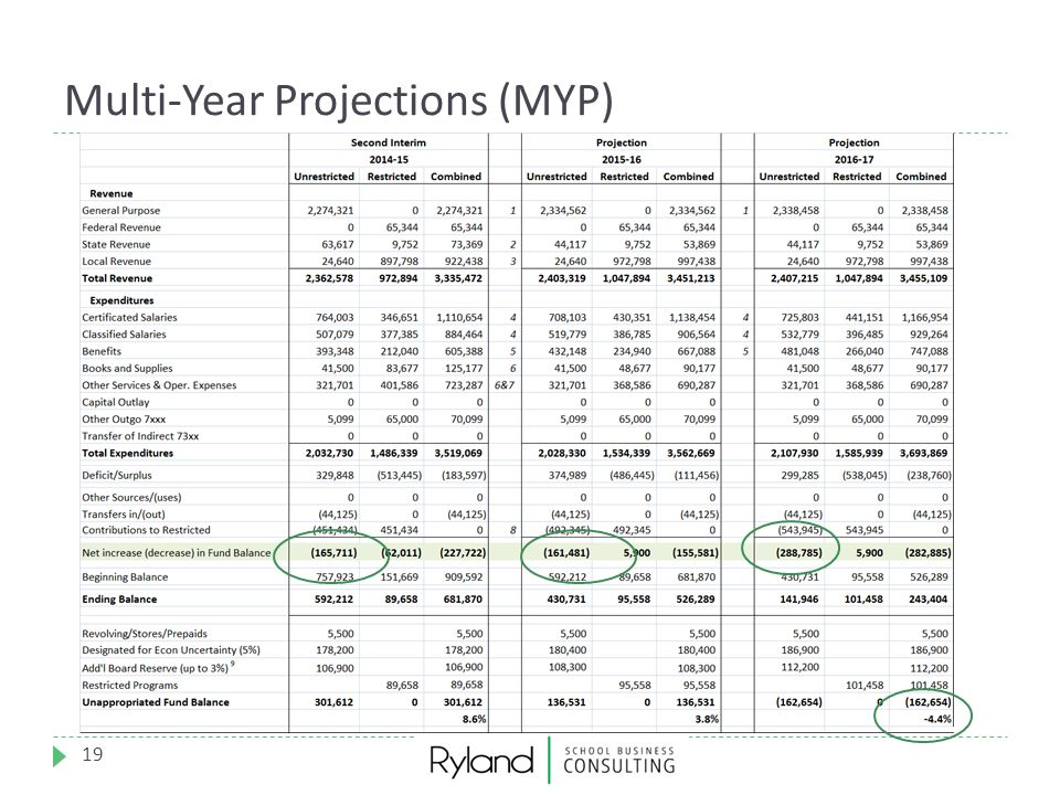Multi-Year Projections (MYP) 19