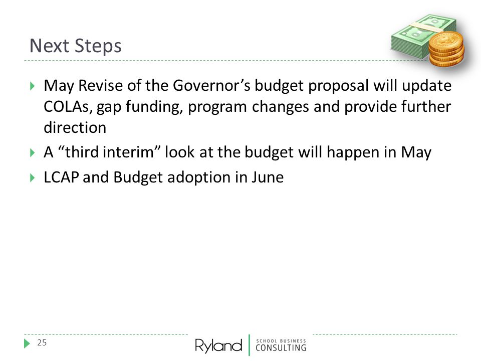 """Next Steps 25  May Revise of the Governor's budget proposal will update COLAs, gap funding, program changes and provide further direction  A """"third"""