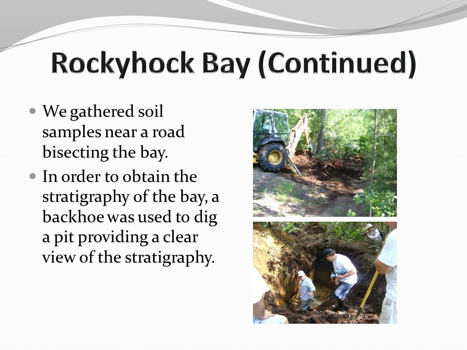We gathered soil samples near a road bisecting the bay. In order to obtain the stratigraphy of the bay, a backhoe was used to dig a pit providing a cl