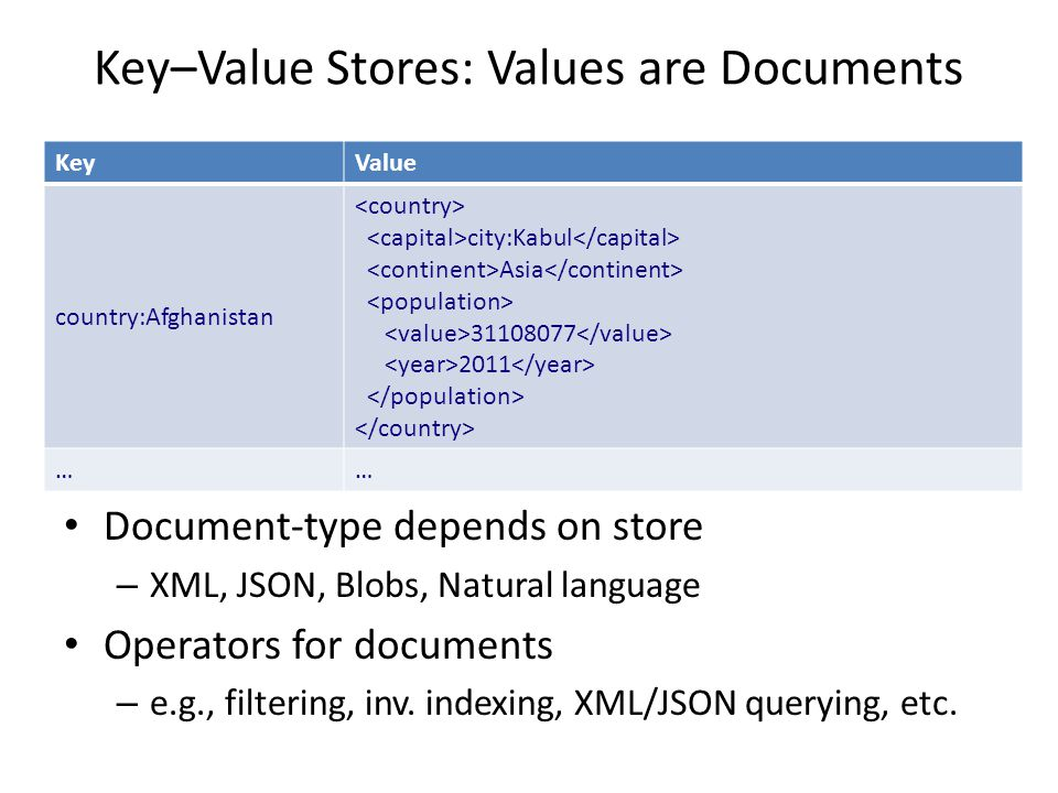 Key–Value Stores: Values are Documents Document-type depends on store – XML, JSON, Blobs, Natural language Operators for documents – e.g., filtering, inv.