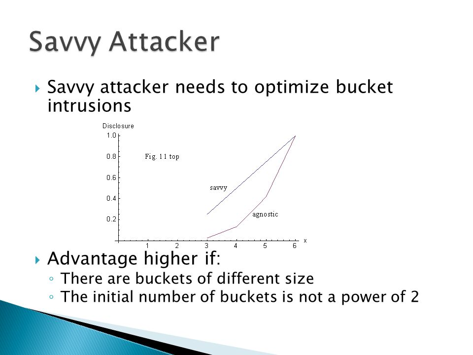  Savvy attacker needs to optimize bucket intrusions  Advantage higher if: ◦ There are buckets of different size ◦ The initial number of buckets is not a power of 2
