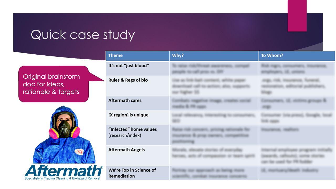 Quick case study Original brainstorm doc for ideas, rationale & targets