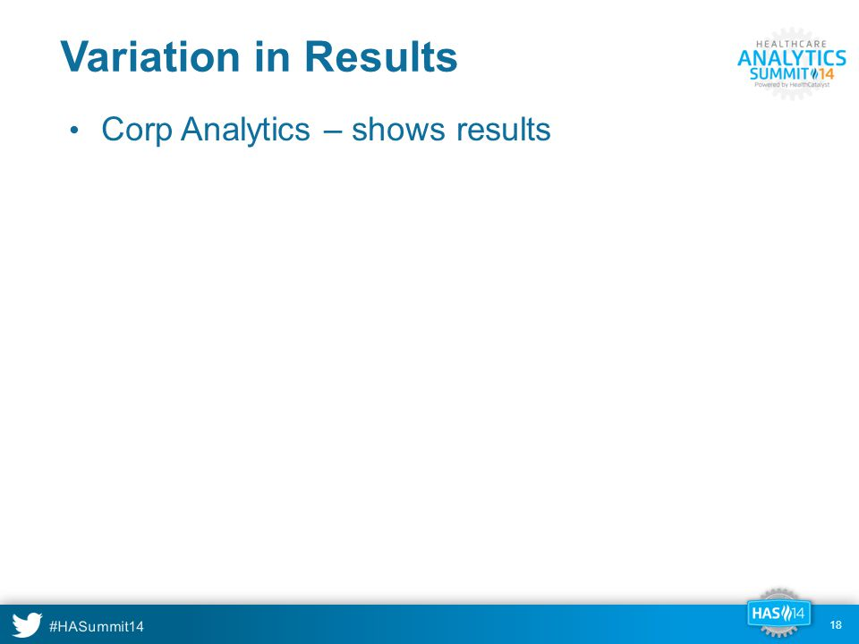 #HASummit14 18 Variation in Results Corp Analytics – shows results 18