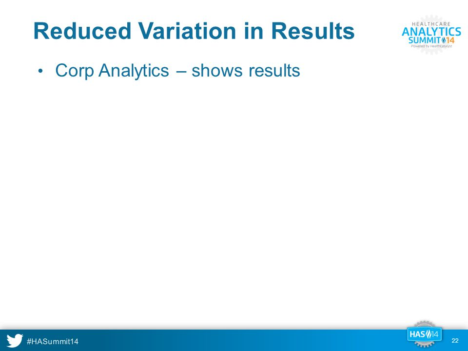 #HASummit14 22 Reduced Variation in Results Corp Analytics – shows results 22
