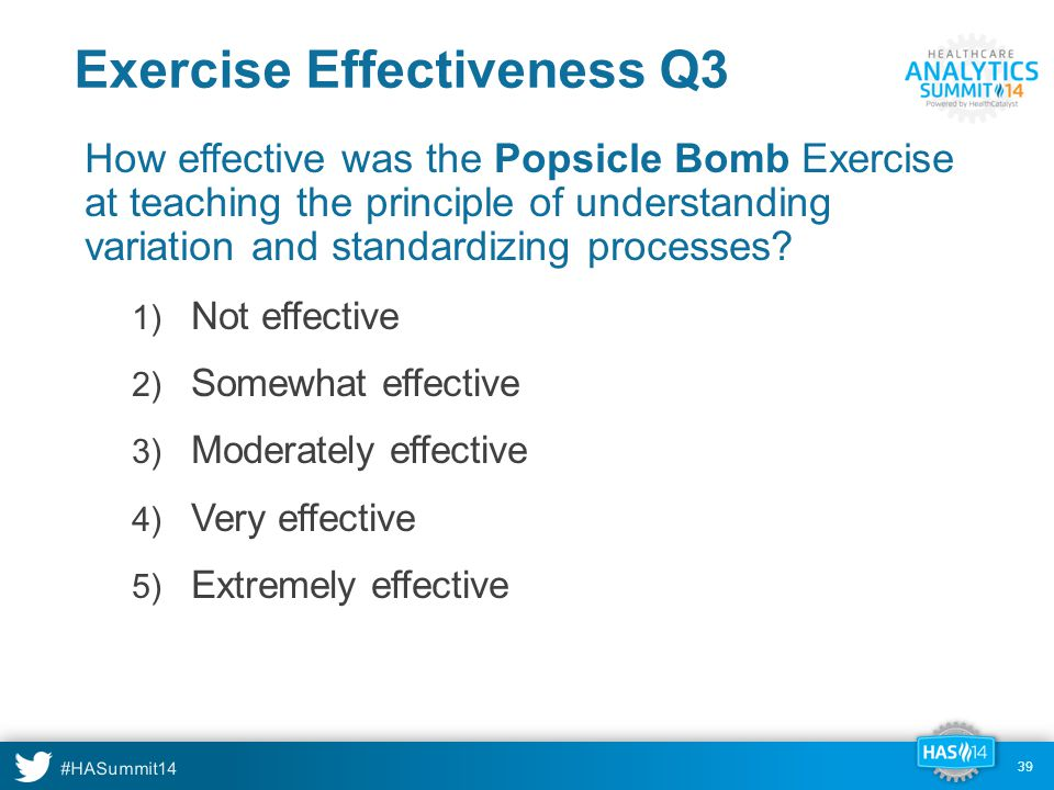 #HASummit14 39 Exercise Effectiveness Q3 How effective was the Popsicle Bomb Exercise at teaching the principle of understanding variation and standardizing processes.