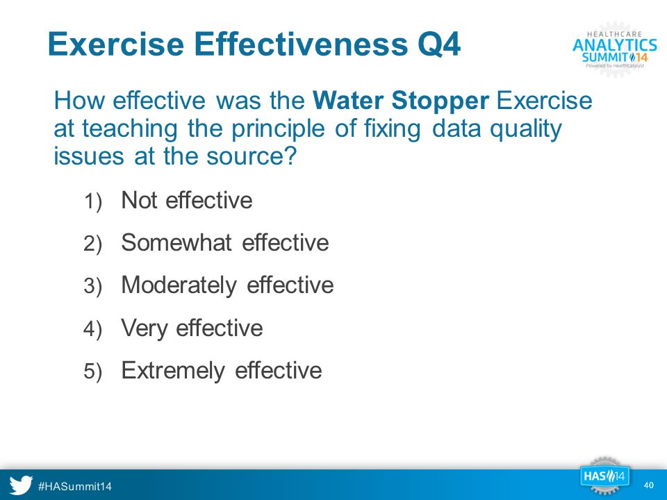 #HASummit14 40 Exercise Effectiveness Q4 How effective was the Water Stopper Exercise at teaching the principle of fixing data quality issues at the source.