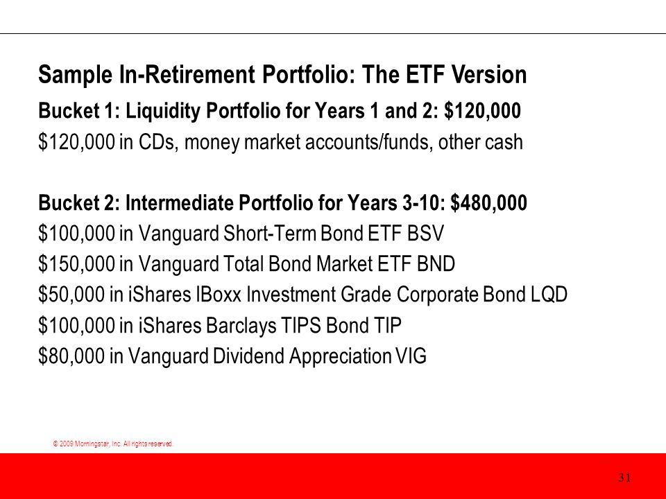 © 2009 Morningstar, Inc. All rights reserved. Bucket 1: Liquidity Portfolio for Years 1 and 2: $120,000 $120,000 in CDs, money market accounts/funds,