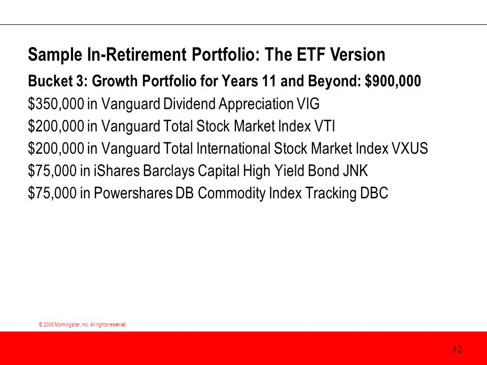 © 2009 Morningstar, Inc. All rights reserved. Bucket 3: Growth Portfolio for Years 11 and Beyond: $900,000 $350,000 in Vanguard Dividend Appreciation