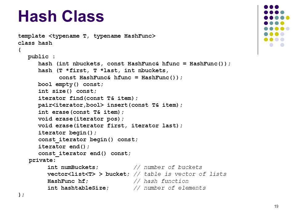 19 Hash Class template class hash { public : hash (int nbuckets, const HashFunc& hfunc = HashFunc()); hash (T *first, T *last, int nbuckets, const Has