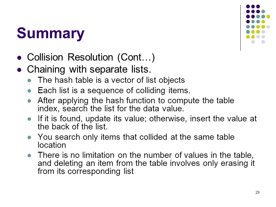 29 Summary Collision Resolution (Cont…) Chaining with separate lists. The hash table is a vector of list objects Each list is a sequence of colliding