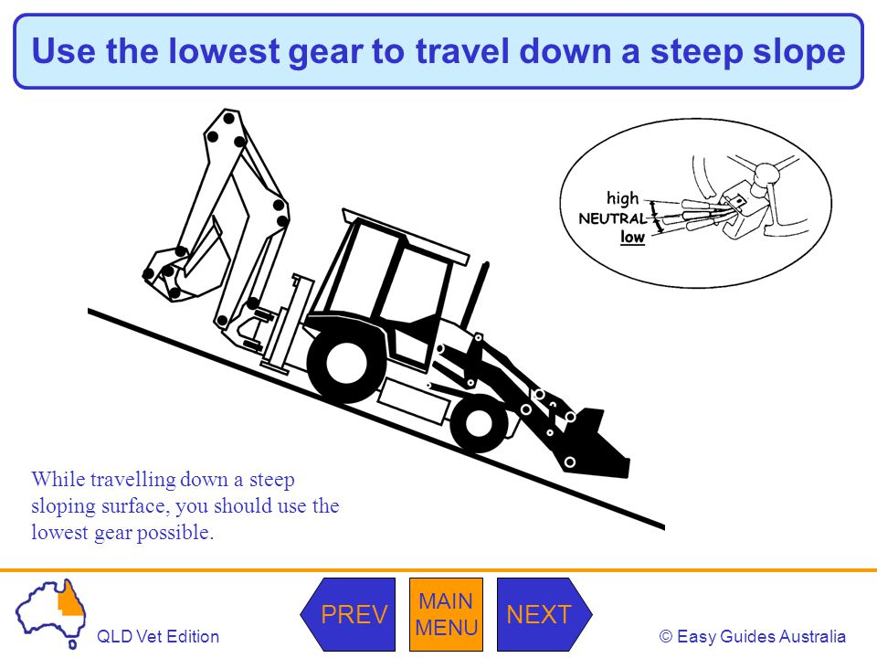 © Easy Guides AustraliaQLD Vet Edition MAIN MENU NEXTPREV Use the lowest gear to travel down a steep slope While travelling down a steep sloping surfa