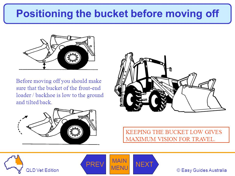 © Easy Guides AustraliaQLD Vet Edition MAIN MENU NEXTPREV Positioning the bucket before moving off Before moving off you should make sure that the bucket of the front-end loader / backhoe is low to the ground and tilted back.