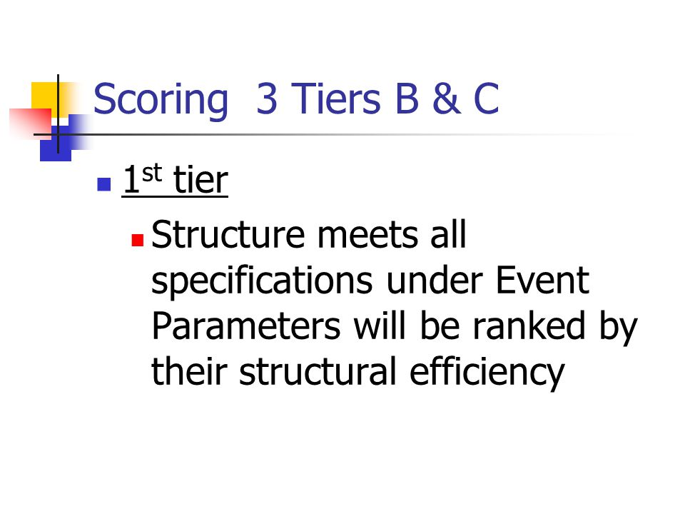 Scoring 3 Tiers B & C 1 st tier Structure meets all specifications under Event Parameters will be ranked by their structural efficiency