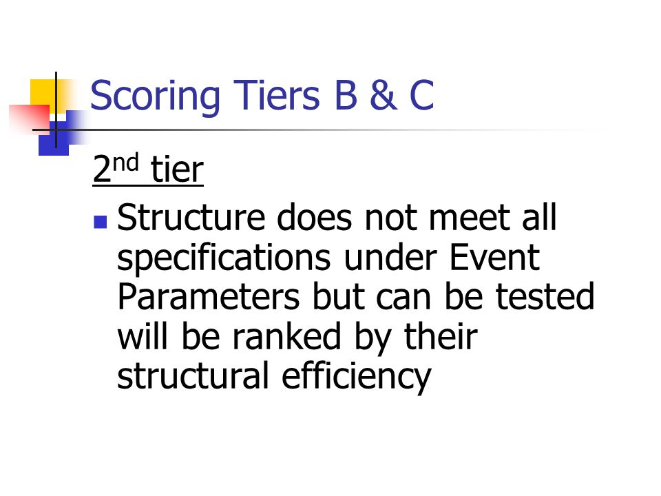 Scoring Tiers B & C 2 nd tier Structure does not meet all specifications under Event Parameters but can be tested will be ranked by their structural e