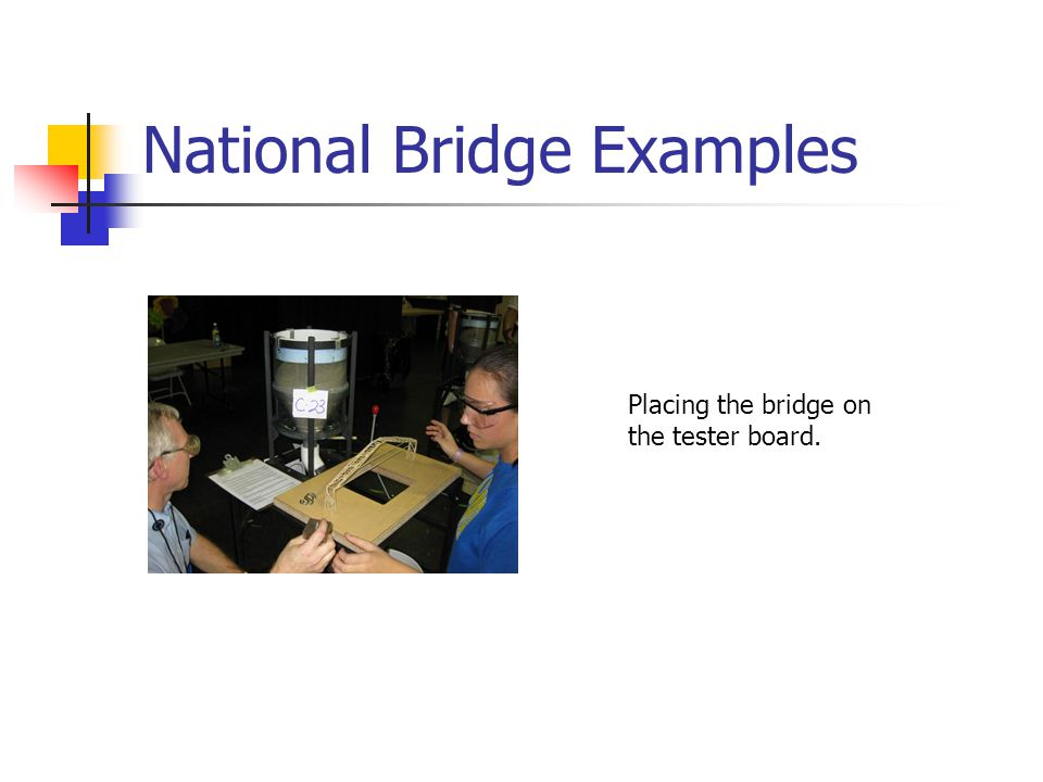 National Bridge Examples Placing the bridge on the tester board.