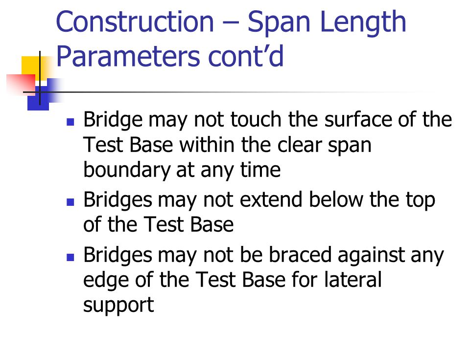 Construction – Span Length Parameters cont'd Bridge may not touch the surface of the Test Base within the clear span boundary at any time Bridges may
