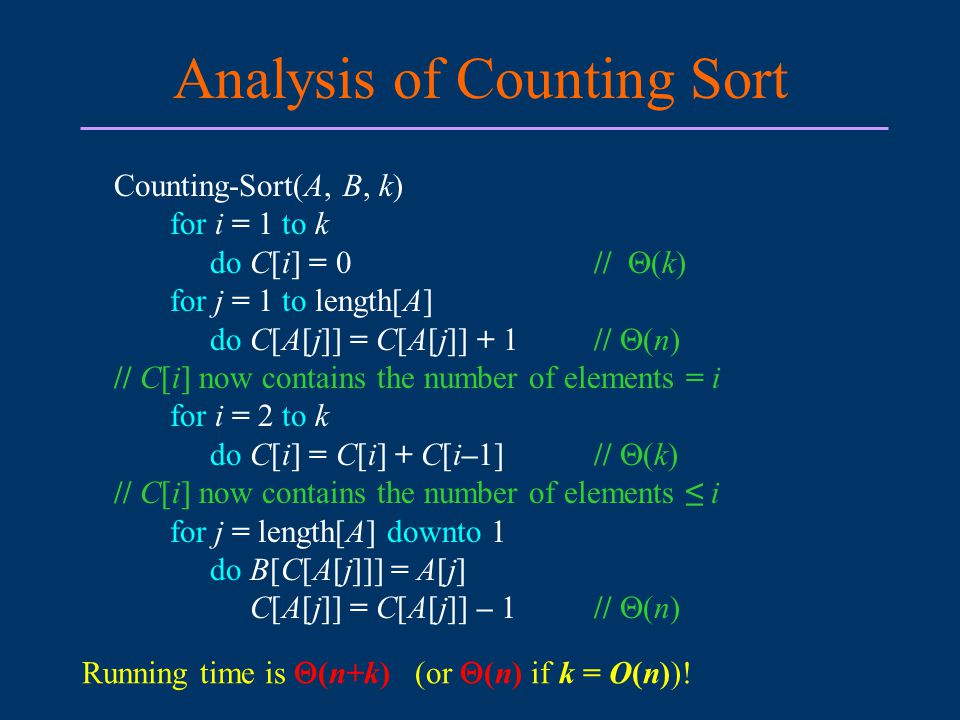 Analysis of Counting Sort Counting-Sort(A, B, k) for i = 1 to k do C[i] = 0//  (k) for j = 1 to length[A] do C[A[j]] = C[A[j]] + 1 //  (n) // C[i] now contains the number of elements = i for i = 2 to k do C[i] = C[i] + C[i–1]//  (k) // C[i] now contains the number of elements ≤ i for j = length[A] downto 1 do B[C[A[j]]] = A[j] C[A[j]] = C[A[j]] – 1//  (n) Running time is  (n+k) (or  (n) if k = O(n))!