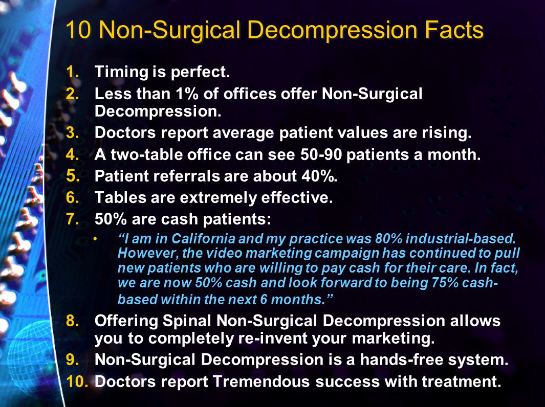 10 Non-Surgical Decompression Facts 1.Timing is perfect.
