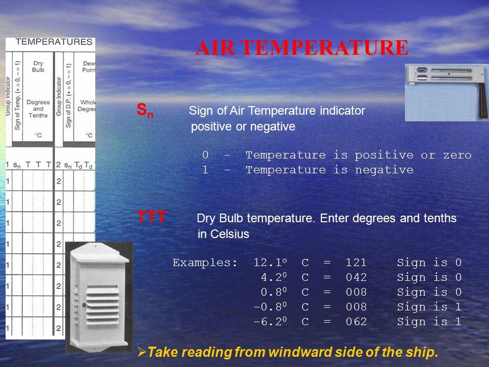 AIR TEMPERATURE S n Sign of Air Temperature indicator positive or negative 0 - Temperature is positive or zero 1 - Temperature is negative TTT Dry Bul