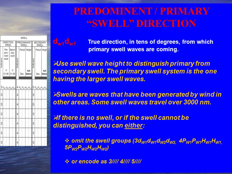 PREDOMINENT / PRIMARY SWELL DIRECTION d w1 d w1 True direction, in tens of degrees, from which primary swell waves are coming.