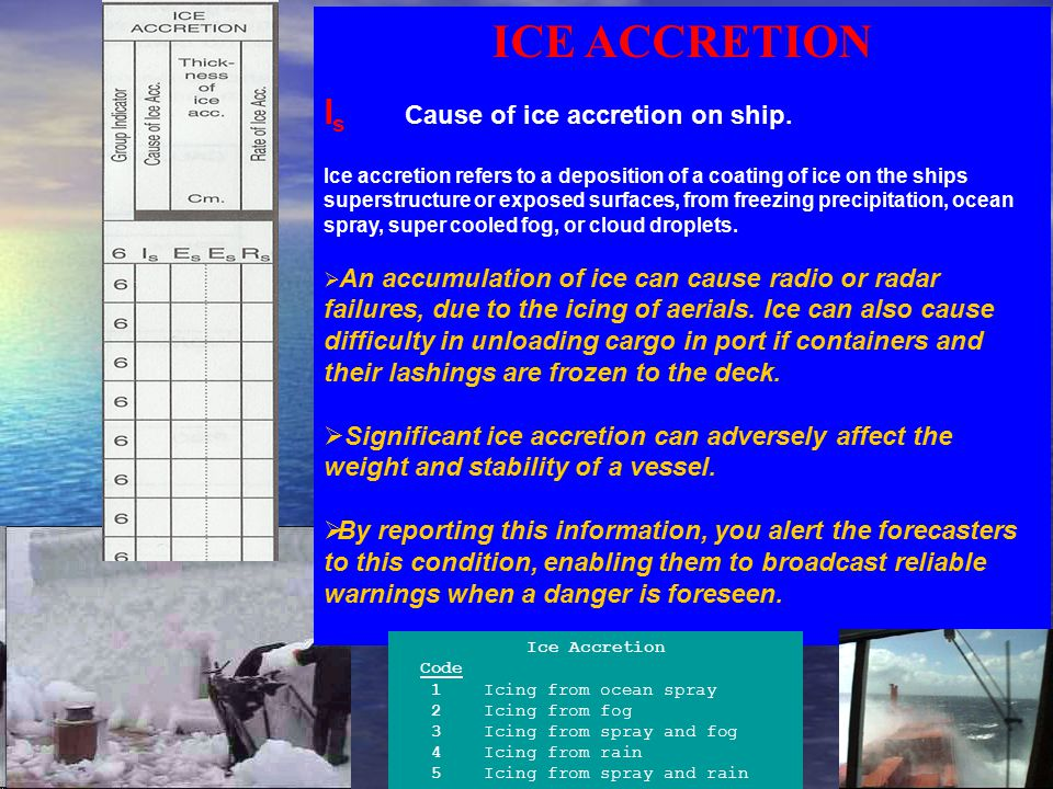 ICE ACCRETION I s Cause of ice accretion on ship. Ice accretion refers to a deposition of a coating of ice on the ships superstructure or exposed surf